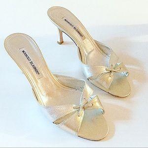 Manolo blahnik light gold heels